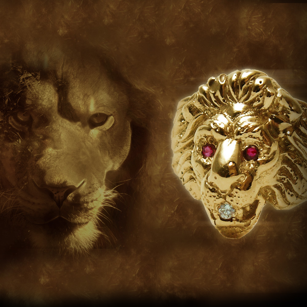 Gold Lion Ruby Eyes Ring Mens Kokkinos Creative Jewelers