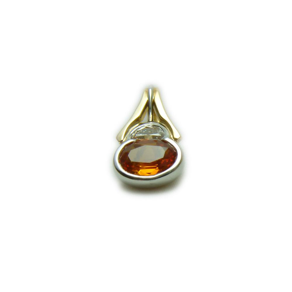 Orange sapphire pendant ladies necklaces kokkinos creative jewelers 18k gold platinum orange sapphire 2 aloadofball Image collections