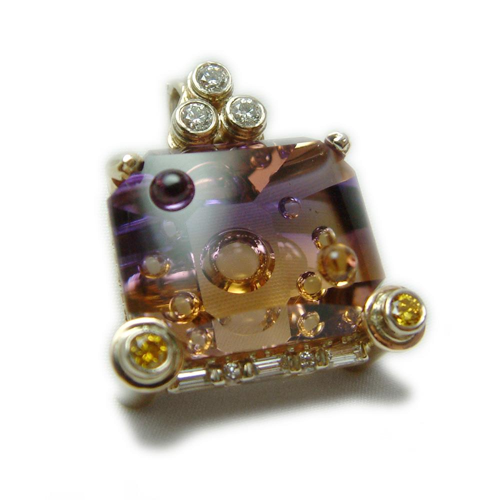 Ametrine diamond pendant one of a kind custom kokkinos ametrine diamond pendant one of a kind custom kokkinos creative jewelers aloadofball Gallery
