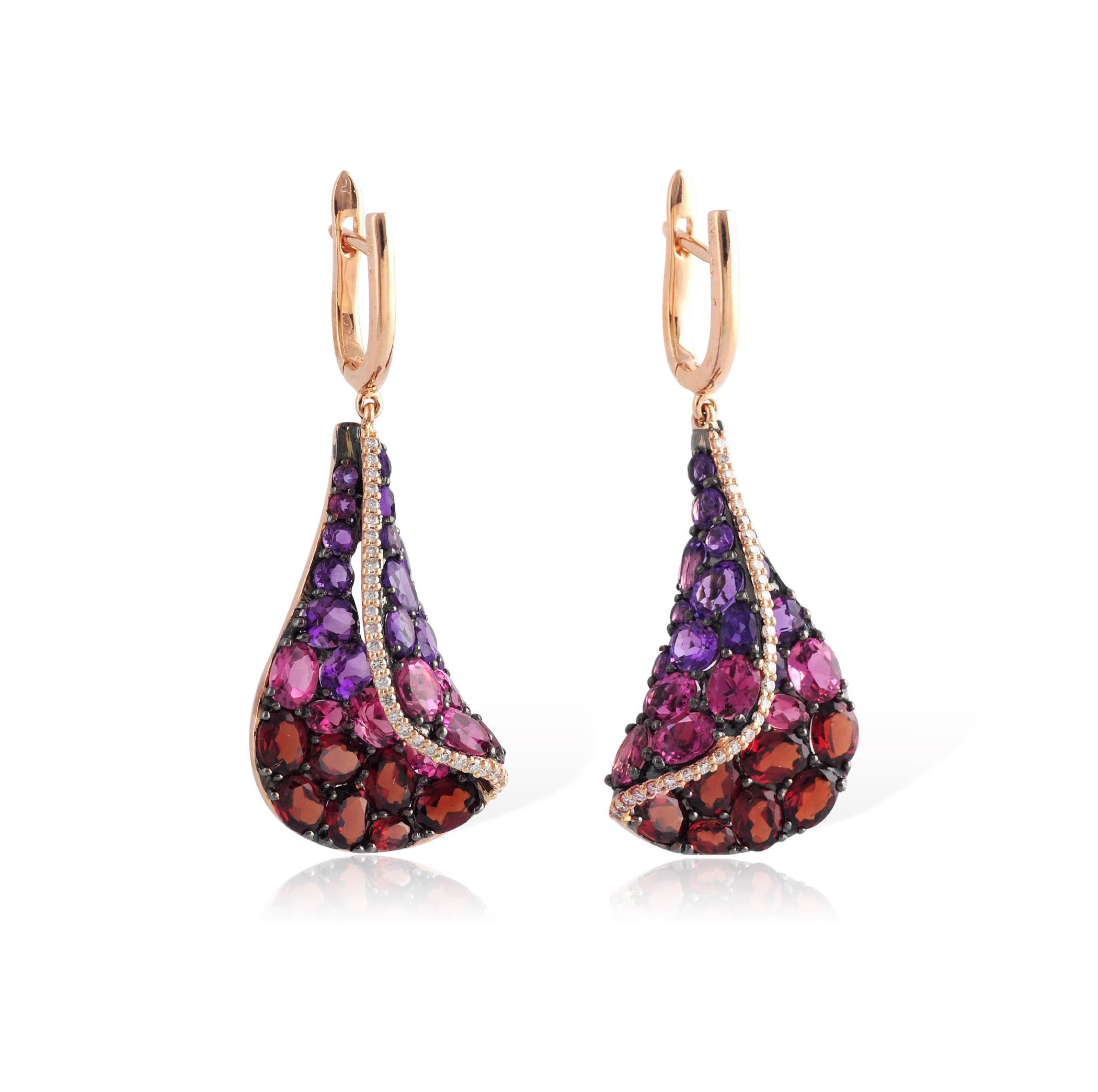 14K Rose Gold Amethyst Garnet Pink Tourmaline And Diamond Earrings