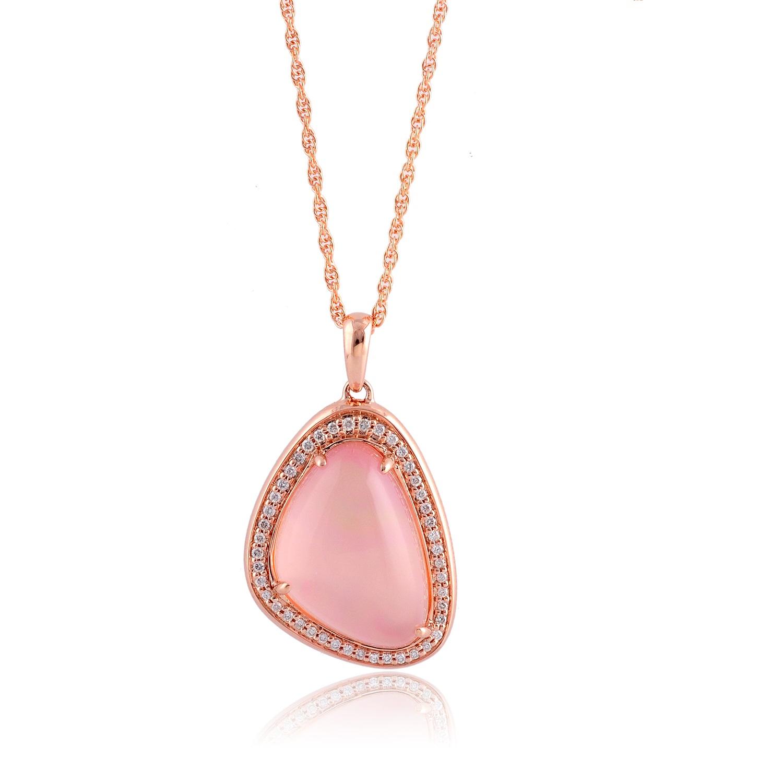 14K Rose Gold Rose Quartz And Diamond Necklace Brand Names