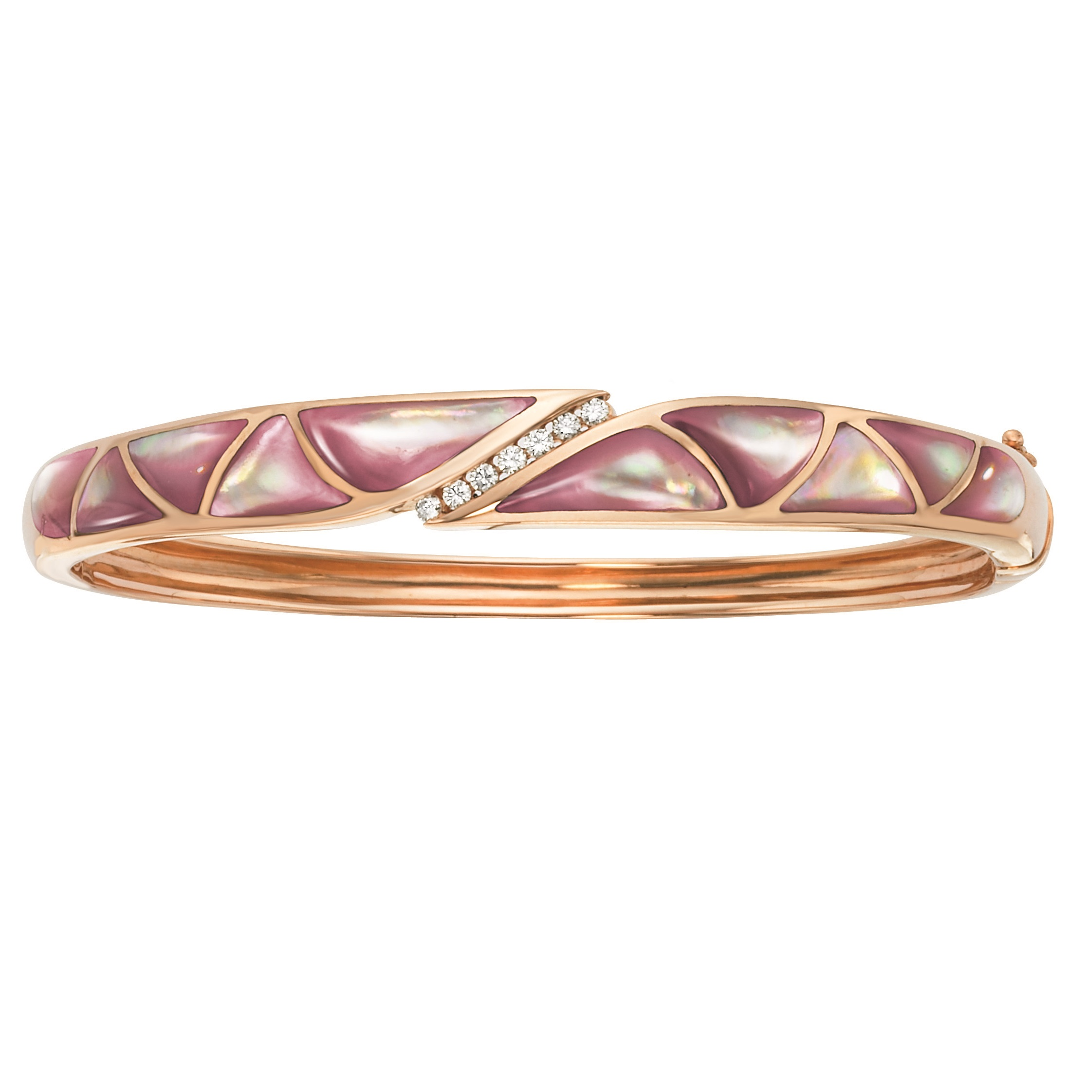 14K Rose Gold Pink MotherOfPearl And Diamond Bracelet