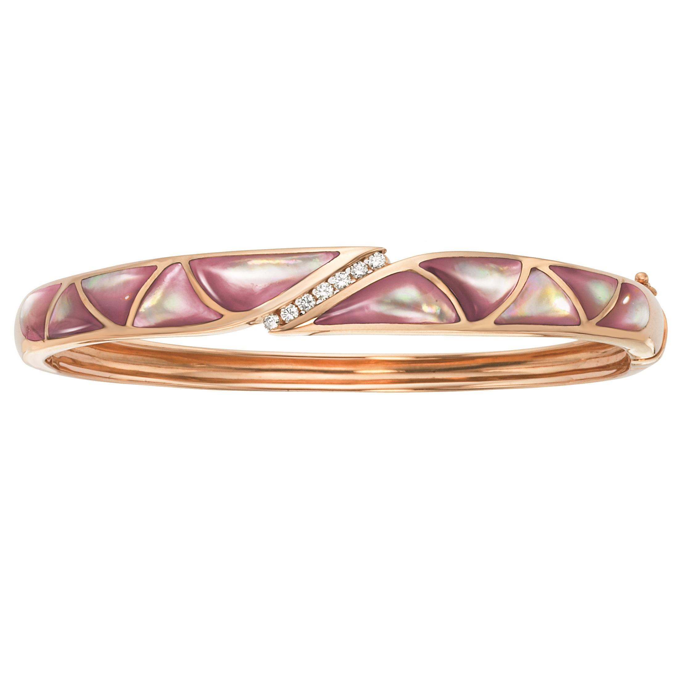 14K Rose Gold Pink MotherOfPearl And Diamond Bracelet