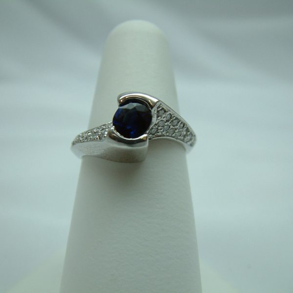 14K White Gold Blue Sapphire and Diamond Ring featured