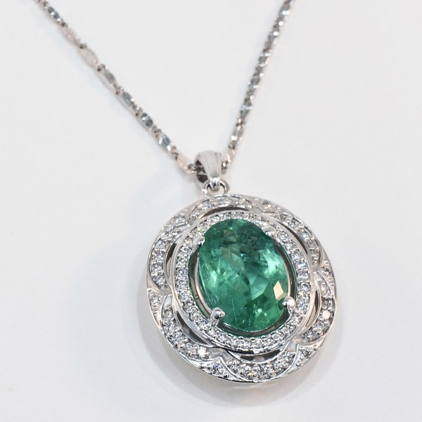 14K White Gold Emerald and Diamond Pendant featured