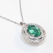 14K White Gold Emerald and Diamond Pendant1