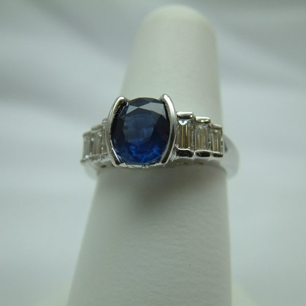 18K White Gold Blue Sapphire and Diamond Ring featured