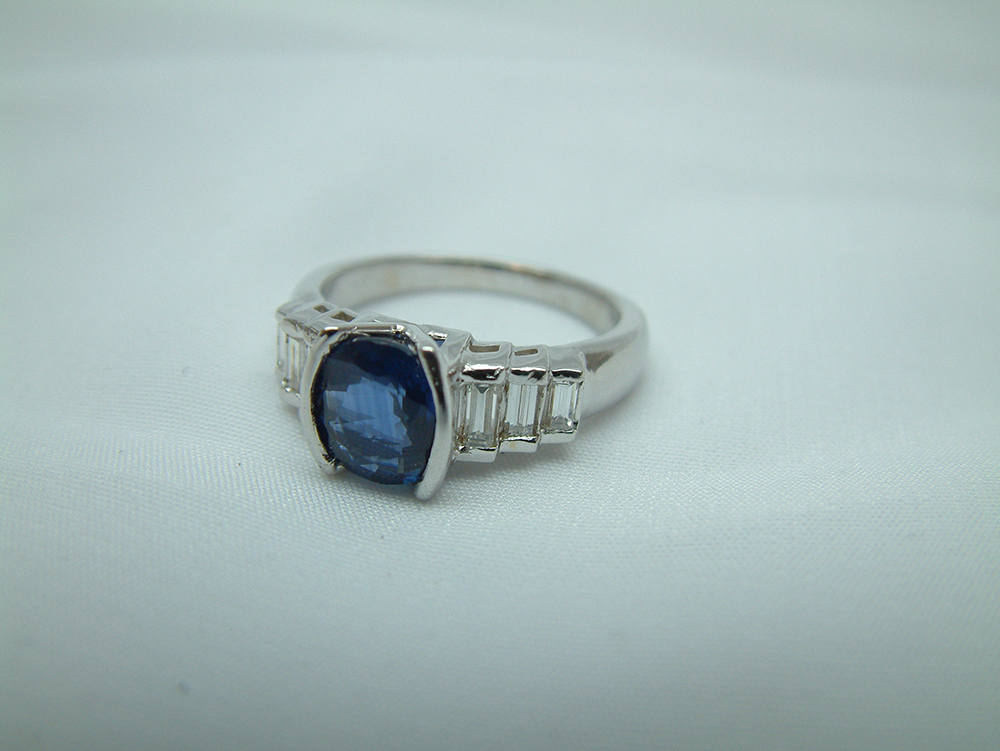 18k White Gold Blue Sapphire And Diamond Ring Made To