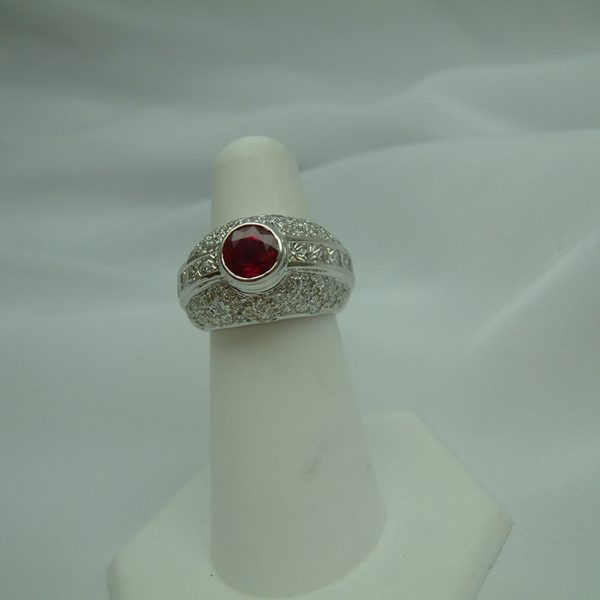 18K White Gold Ruby and Diamond Ring featured