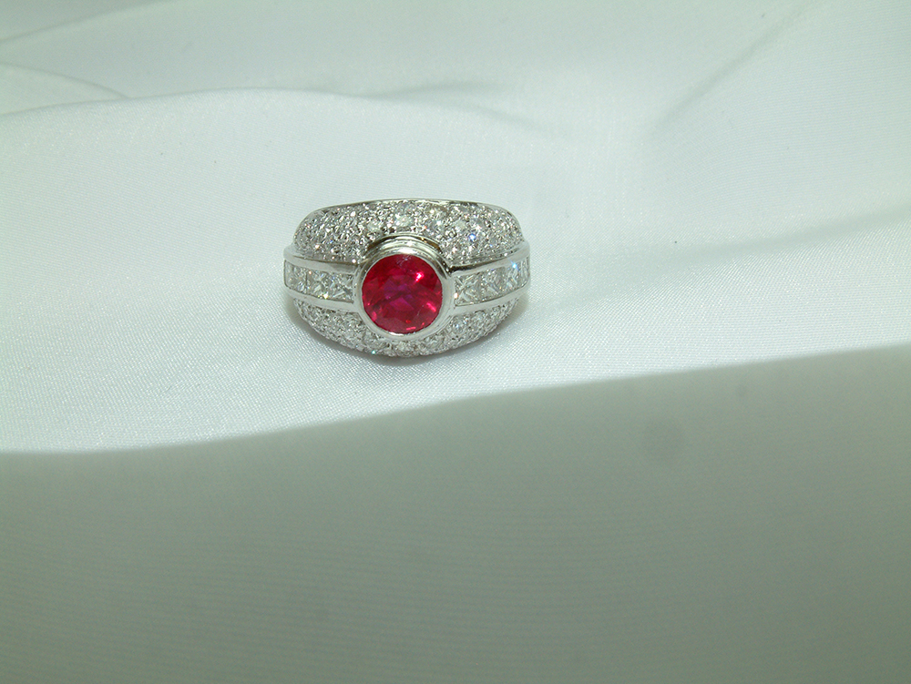 18k white gold ruby and diamond ring one of a kind