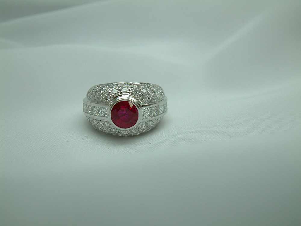 18k white gold ruby and ring one of a