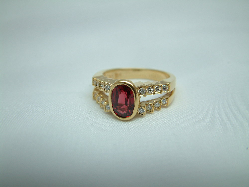 18k Yellow Gold Red Spinel And Diamond Ring Made To