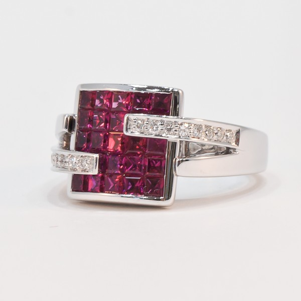 18K white gold invisible set ruby and diamond ring