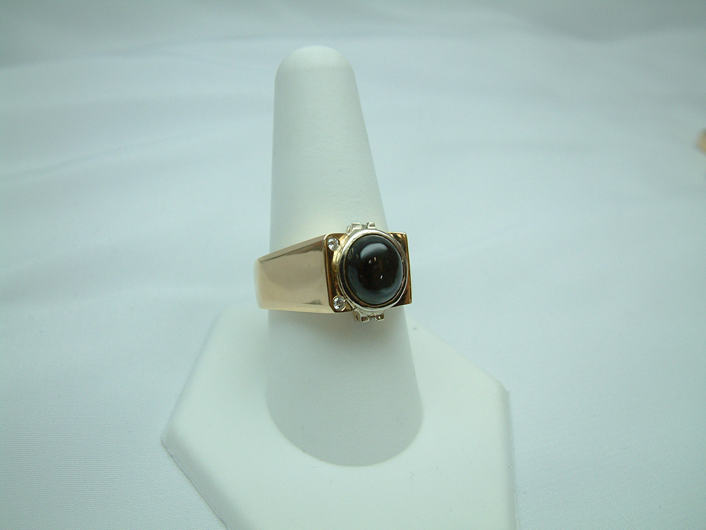 Gent S 14k Two Tone Black Star Sapphire And Diamond Ring