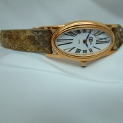 Ladies Rose Gold Plated Watch with a Genuine Ostrich Strap0