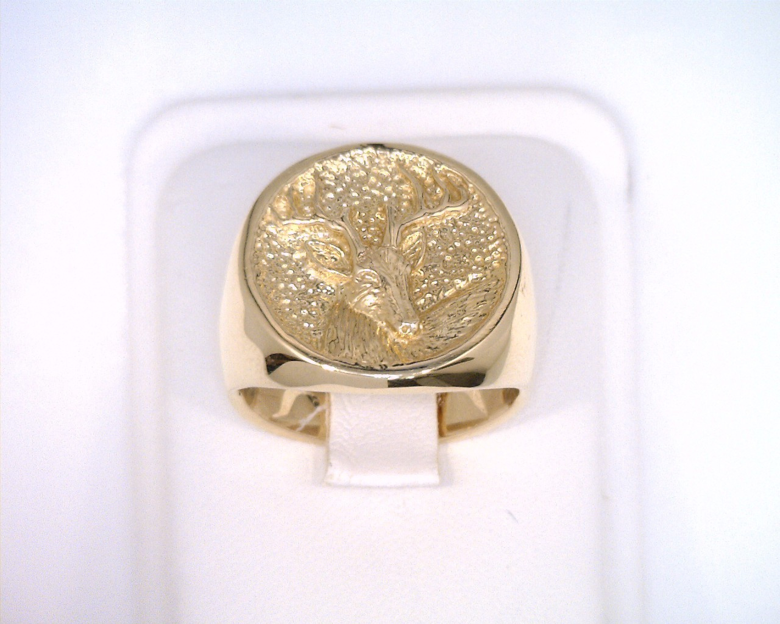 14k yellow gold deer hunter ring mens kokkinos